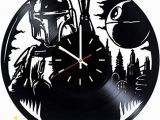Star Wars Bedroom Wall Murals Star Wars Boba Fett Vinyl Record Wall Clock Living Room Wall Decor Gift Ideas for Father and Mother Teens Unique Art Design