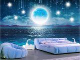 Starry Night Sky Murals Beibehang Water Moonlight Beautiful Night Starry Sky Tv Background