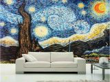Starry Night Wall Mural Custom 3d Wallpaper Van Gogh Starry Sky Oil Painting Mural Wallpaper for Living Room European Wall Mural Home Decor Papel De Parede Hd