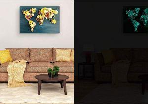 Startonight 3d Mural Wall Art Amazon Startonight Canvas Wall Art Abstract World Map