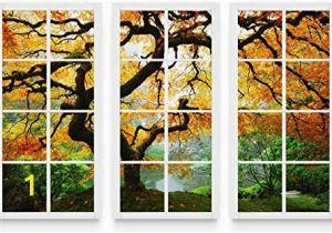 Startonight 3d Mural Wall Art Startonight Canvas Wall Art Maple at Window Nature Framed
