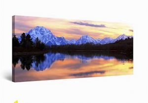 Startonight 3d Mural Wall Art Startonight Canvas Wall Art Mountain Mirror Landscape Framed 24 X 48 Inches