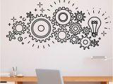Stick On Murals for Walls Gear Mechanism Engineering Wall Vinyl Decal Sticker Teamwork Fice