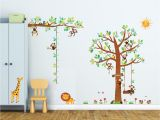 Stick On Murals for Walls Uk 8 Little Monkeys Tree & Height Chart Wall Stickers