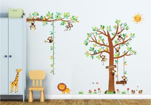 Stick On Murals for Walls Uk 8 Little Monkeys Tree & Height Chart Wall Stickers