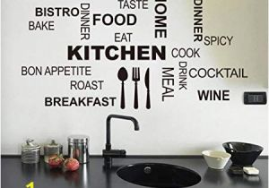 Stick On Murals for Walls Uk Wallpark Black English Words Knife fork Home Kitchen