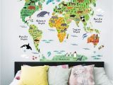 Stick On Murals for Walls Uk Zooarts Animals World Map Vinyl Mural Wall Sticker Decals
