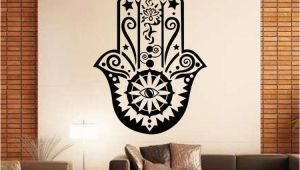 Stick On Wall Murals Art Design Hamsa Hand Wall Decal Vinyl Fatima Yoga Vibes Sticker