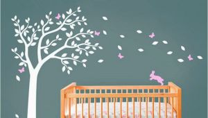 Stick On Wall Murals for Nursery Huge White Tree Decal with Cute Rabbit and butterflies Vinyl
