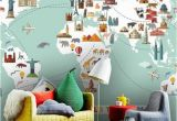 Stick On Wall Murals for Nursery Wallpaper World Travel Map Peel and Stick Wall Mural
