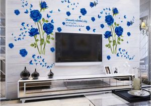 Stickers Mural wholesale Blue Flower Mural Rose 3d Wall Stickers Mural