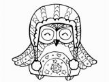 Stocking Hat Coloring Page Owl In Winter Hat Coloring Page