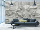 Stone Effect Wall Murals 3d Wallpaper Mural Abstract Room Art White Stone Triangle Look Wall