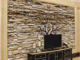 Stone Effect Wall Murals Custom Wallpaper 3d Stone Wall Trunk Wallpaper Living Room