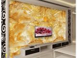 Stone Roses Wall Mural 3d Wall Murals Wallpaper Golden Flower Stone Marble Backdrop Wall