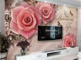 Stone Roses Wall Mural Custom 3d Wall Mural Wallpaper Romantic Pink Rose Flowers Fresco