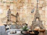 Stone Wall Mural Wallpaper Us $9 15 Off Beibehang Papel De Parede 3d Map Eiffel tower Retro Clothing Store Casual Cafe Restaurant Bar tooling Large Mural Wallpaper In