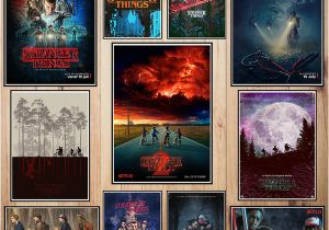 Stranger Things Wall Mural Stranger Thing Coated Paper Poster Cafe Creative Wallpaper Interior Decoration Quotes Stickers for Walls Quotes Wall Stickers From Greenliv $35 18