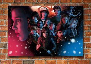 Stranger Things Wall Mural Stranger Things Inspired Canvas Framed Wall Art Fan Art