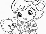 Strawberry Shortcake Doll Coloring Pages Baby Strawberry Shortcake Reading to Teddy Bear
