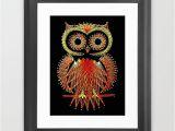 String Art Wall Mural String Art Owl Framed Art Print by Bronzarino