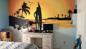Sunset Wall Mural Painting Beach Sunset Mural My Husband and I Painted for My 10 Year