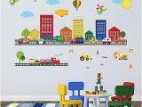 Super Car Wall Mural Decalmile Construction Kids Wall Stickers Cars Transportation Wall Decals Baby Nursery Childrens Bedroom Living Room Wall Decor