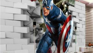 Super Hero Wall Mural Avengers Captain America 3d Wall Mural Wallpaper