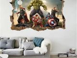 Super Hero Wall Mural Cartoon Avengers Wall Sticker 3d Decals Wallpaper Mural Art