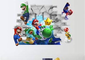 Super Mario Bros Wall Mural 3d Cartoon Super Mario Diy Wall Stickers Living Room Bedroom Wall Decal Classic Game Room for Room Home Decor Boys Gift Black
