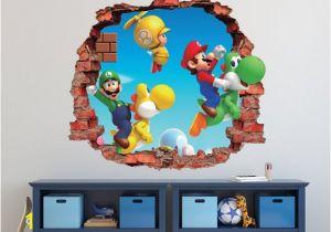 Super Mario Bros Wall Mural Mario Bros Wall Decal Super Mario World 3d Brick Smashed Decor Art Kids Luigi Sticker Vinyl Mural Custom Gift