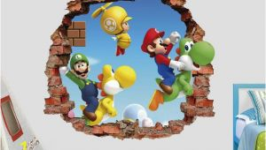 Super Mario Bros Wall Mural Mario Bros Wall Decal Super Mario World 3d Brick Smashed Decor Art Kids Luigi Sticker Vinyl Mural Custom Gift