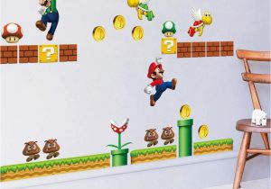 Super Mario Bros Wall Mural Super Mario Wall Stickers Non toxic Boys Kids Room Wall Paper Paste Home Children Bedroom Decors Mural Art Decals Wall Stickers