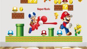 Super Mario Brothers Wall Murals Großhandel Heißer Verkauf Neue Cartoon Wandaufkleber Super Mario Bros Vinyl Removable Decals Kinder Kindergarten Freies Verschiffen Von Billshuiping