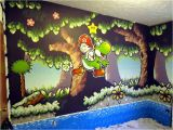 Super Mario Wall Mural A Bedroom Painted In A Yoshi S island Super Nintendo theme