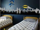 Superhero Cityscape Wall Mural City Skyline City Buildings with Supeheo Emblem Vinyl Wall