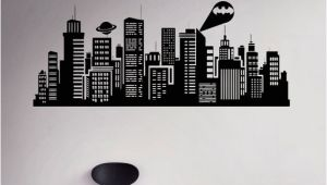 Superhero Cityscape Wall Mural Gotham City Wall Decal Batman Night City Vinyl Sticker