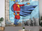 Superhero Cityscape Wall Mural Retro Grommet Window Curtain Superhero Fat Man with Burger