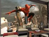Superhero Cityscape Wall Mural Spiderman Wall Mural Superhero Wallpaper Custom 3d
