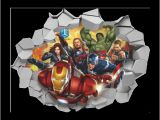 Superhero Wall Mural Stickers 3d Broken Wall Decor the Avengers Wall Stickers for Kids Rooms Home