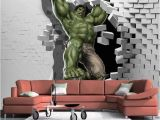 Superhero Wall Mural Stickers 3d Cartoon Hulk Superhero Avenger Wallpaper for Wall Mural In