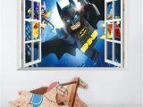 Superhero Wall Mural Stickers Cartoon Batman Wall Sticker for Kids Rooms 3d Window Wall Decal