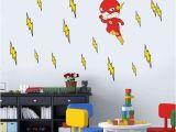 Superhero Wall Mural Stickers Cartoon Flash Superhero Wall Art for Kid Nursery Bedroom Vinyl