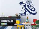 Superhero Wall Mural Stickers Cartoon Lego Captain America Wall Sticker Boys Room Baby Nursery