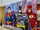 Superhero Wall Mural Stickers Custom 3d Wall Murals Batman Superman Flash Wallpaper Ics Photo
