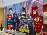 Superhero Wall Murals Wallpaper Custom 3d Wall Murals Batman Superman Flash Wallpaper Ics Photo