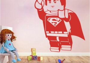Superman Wall Murals Cartoon Lego Superman Wall Sticker Boy Room Kids Room Lego Superhero