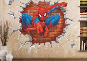 Superman Wall Murals Cartoon Superman Spiderman Wall Stickers for Kids Rooms 3d Sticker