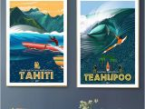 Surf Wall Mural Stickers 2019 Surfing at Tahiti Holiday Pop Art Travel Canvas Painting Vintage Wall Kraft Posters Coated Wall Sticker Home Decor Picture Gift From Candide