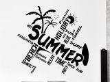 Surf Wall Mural Stickers Wall Vinyl Decal Quotes Word Cloud Summer Travel Beach Surf